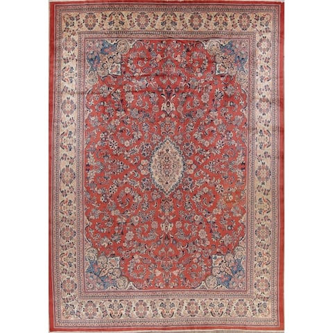 """Vintage Hand Knotted Woolen Floral Sarouk Persian Dining Room Area Rug - 14'3"""" x 10'4"""""""
