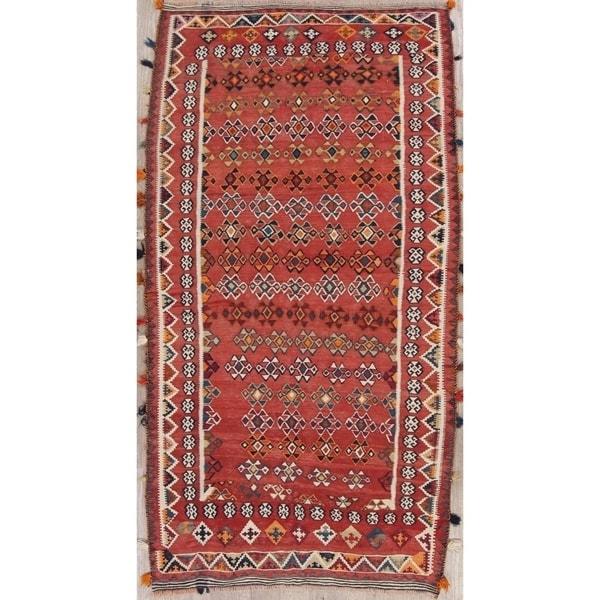 Shop Hand Woven Wool Geometric Kilim Shiraz Persian Rug