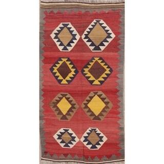 "Hand Woven Oriental Woolen Kilim Shiraz Persian Livingroom Area Rug - 6'7"" x 3'6"""