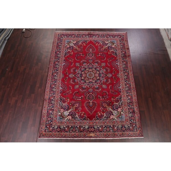 Hand Knotted Wool Floral Mashad Persian Red Area Rug For Dining Room 11 1 X 7 11 Overstock 24208157