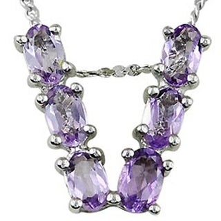 1 32 Ct Amethyst Sterling Silver Initial V Pendant By Orchid Jewelry