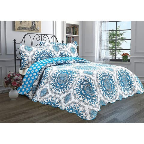 Luxury Home Hotel Reversible Lightweight Quilt Set Bedspread With Shams