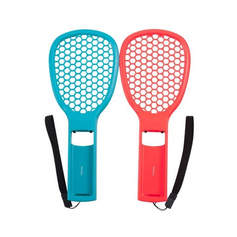 INSTEN Twin Pack Tennis Racket Joy Con Controller Grip Holder Set with Wrist Strap for Nintendo Switch Mario Tennis Aces Game