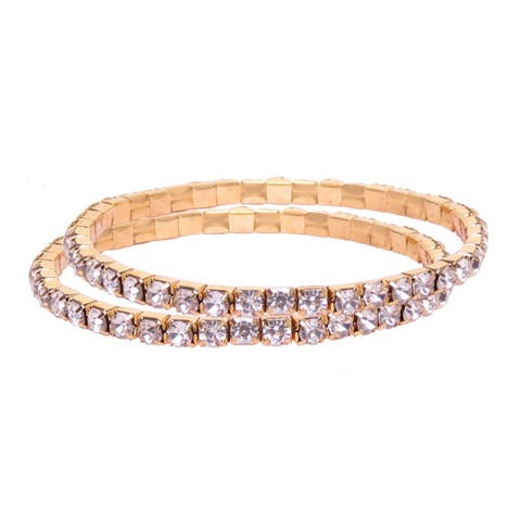 Gold Rhinestone Crystal Tennis one Tier 2Set Bracelet Christmas Gift