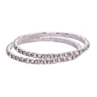 Silver Crystal Tennis Women's Rhinestone Bracelet Single Tier 2 Set