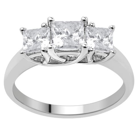 Divina 14KT Gold 2.00ct TDW Certified Diamond 3-Stone Engagement Ring