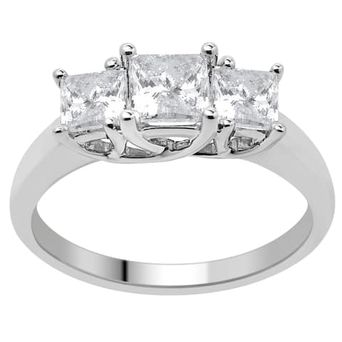 Divina 14KT Gold 1 1/2ct TDW Certified Diamond 3-Stone Engagement Ring