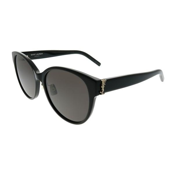 Saint Laurent Round Sl M39/K 001 Unisex Black Frame Grey Lens Sunglasses by Saint Laurent