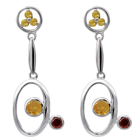 Citrine, Garnet Sterling Silver Round Dangle Earrings by Orchid Jewelry
