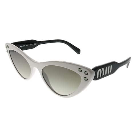 a24e9a4622 Miu Miu Cat-Eye MU 05TS 4AO5O0 Women White Frame Silver Mirror Gradient  Lens Sunglasses