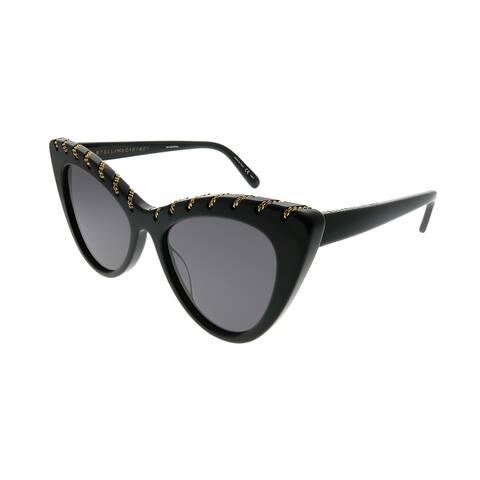 Stella McCartney Cat-Eye SC 0163S Falabella 001 Women Black Frame Grey Lens Sunglasses
