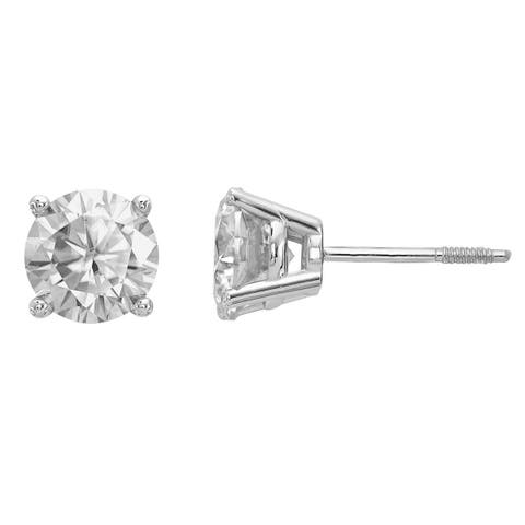 Versil Certified Lab Grown 1 Ct Round Diamond Stud Earrings, SI2 clarity, D E F color, in 14 Karat White Gold