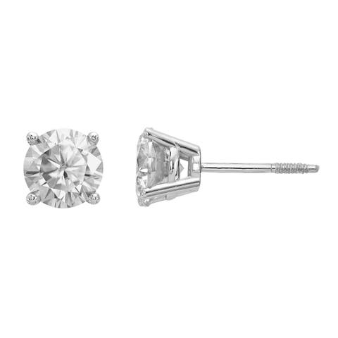 Versil Certified Lab Grown 3/4 Ct Round Diamond Stud Earrings, SI2 clarity, D E F color, in 14 Karat White Gold