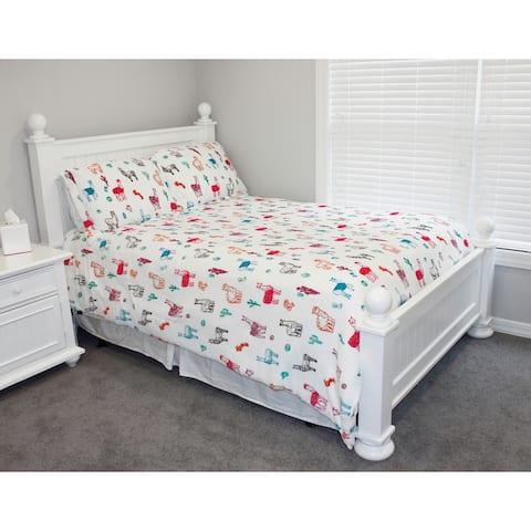Thro Larry Llama Flannel Fleece Comforter Set