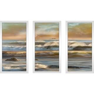 """Distant Island II"" by Mike Calascibetta Print on Acrylic Set of 3 - Orange"