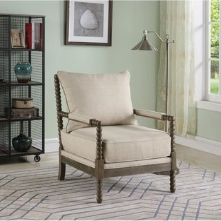 Link to Best Master Furniture Beige Fabric/Rustic Oak Accent Arm Chair Similar Items in Living Room Chairs