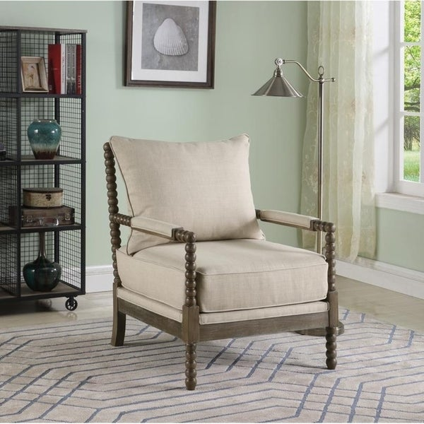 Best Master Furniture Beige Fabric/Rustic Oak Accent Arm Chair. Opens flyout.