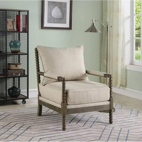 Best Master Furniture Beige Fabric/Rustic Oak Accent Arm Chair