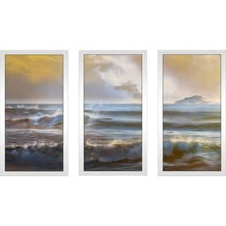 """Distant Island I"" by Mike Calascibetta Print on Acrylic Set of 3 - Yellow"