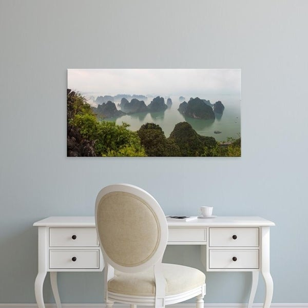 Easy Art Prints Panoramic Images's 'Elevated view of misty Ha Long Bay, Quang Ninh Province, Vietnam' Premium Canvas Art