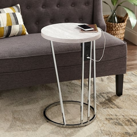 Silver Orchid Hinding Faux Stone Side Table w/ USB Ports