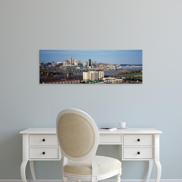 Easy Art Prints Panoramic Images's 'Cincinnati skyline, Ohio and Ohio River as seen from Covington, KY' Canvas Art