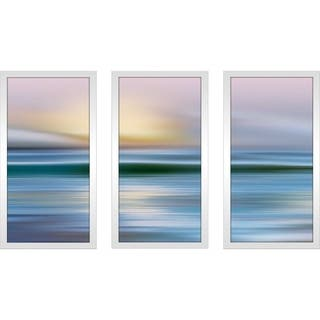 """Early Morning Beach"" by Mike Calascibetta Print on Acrylic Set of 3 - Blue"