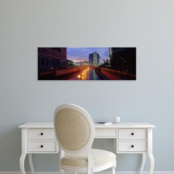 Easy Art Prints Panoramic Images's 'WaterFire, Providence River, Providence, Providence County, Rhode Island' Canvas Art