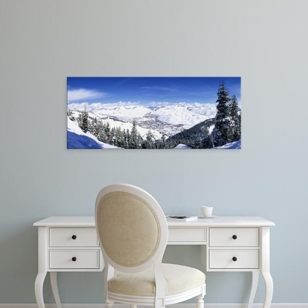 Easy Art Prints Panoramic Images's 'Ski slopes in Sun Valley, Idaho, USA' Premium Canvas Art