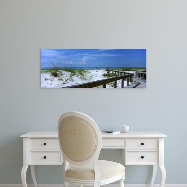 Easy Art Prints Panoramic Images's 'Florida, Gulf of Mexico, St. George Island State Park, Footbridge on a beach' Canvas Art