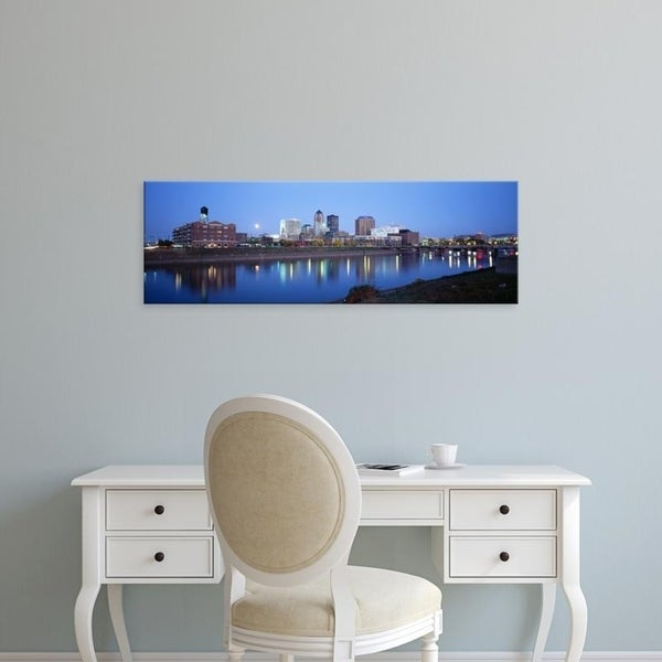 Easy Art Prints Panoramic Images's 'Buildings At The Waterfront Lit Up At Dawn, Des Moines River, Des Moines, Iowa' Canvas Art