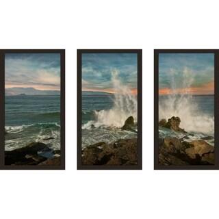"""Malibu Crash"" by Mike Calascibetta Print on Acrylic Set of 3 - Blue"