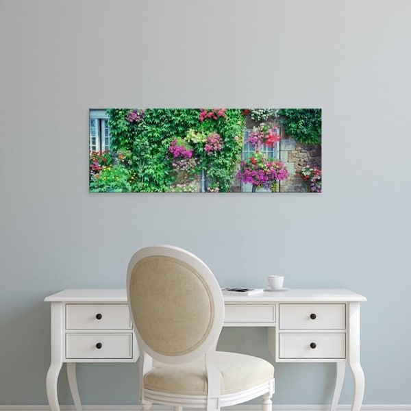 Easy Art Prints Panoramic Images's 'Europe, France, Pontorson, Wall covered with flowers' Premium Canvas Art