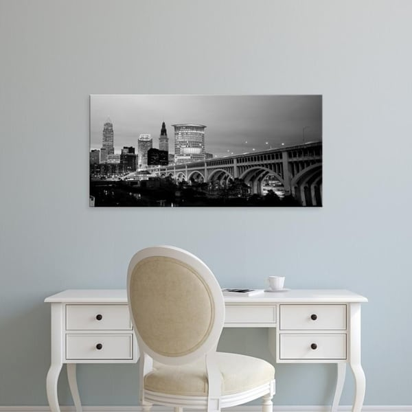 Easy Art Prints Panoramic Images's 'Bridge in a city lit up at dusk, Detroit Avenue Bridge, Cleveland, Ohio' Premium Canvas Art