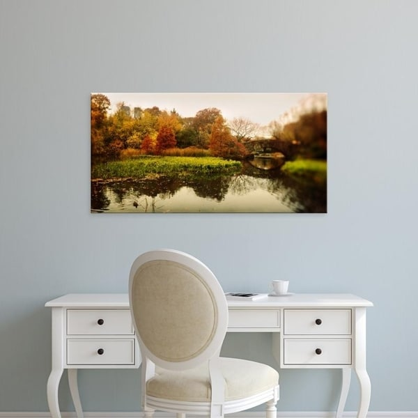 Easy Art Prints Panoramic Images's 'Pond in a park, Central Park, Manhattan, New York City, New York State' Premium Canvas Art