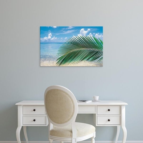 Easy Art Prints Panoramic Images's 'Close up of palm leaf with sea in background' Premium Canvas Art