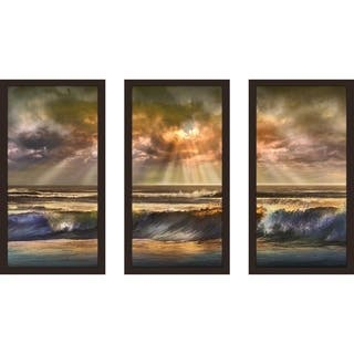 """Waves Of Light"" by Mike Calascibetta Print on Acrylic Set of 3 - Orange"