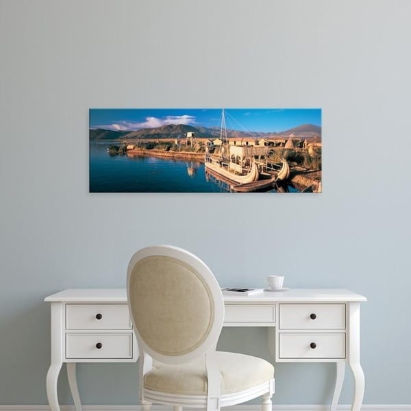Easy Art Prints Panoramic Images's 'Reed Boats at the lakeside, Lake Titicaca, Floating Island, Peru' Premium Canvas Art