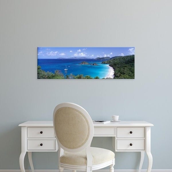 Easy Art Prints Panoramic Images's 'High angle view of Trunk Bay, St. John, US Virgin Islands, West Indies' Premium Canvas Art