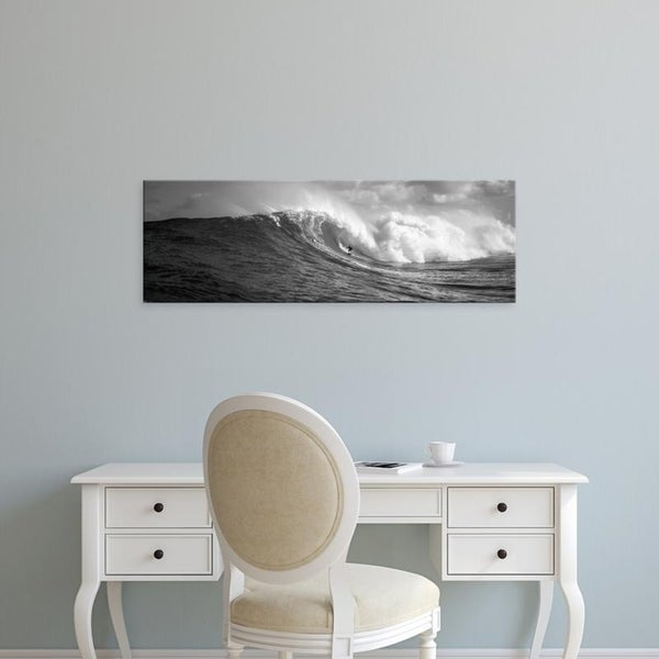 Easy Art Prints Panoramic Images's 'Surfer in the sea, Maui, Hawaii, USA' Premium Canvas Art