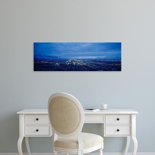 Easy Art Prints Panoramic Images's 'Aerial view at dusk, Salt Lake City, Utah, USA' Premium Canvas Art