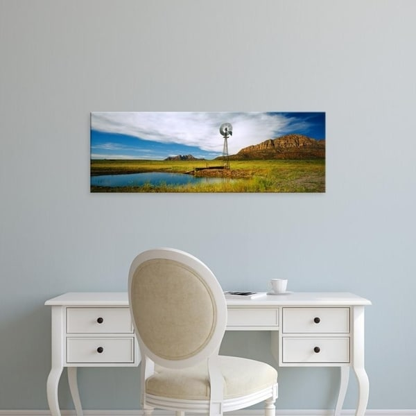 Easy Art Prints Panoramic Images's 'Solitary windmill near a pond, U.S. Route 89, Utah, USA' Premium Canvas Art