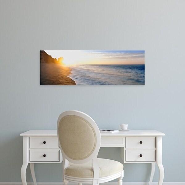 Easy Art Prints Panoramic Images's 'Sunrise over the beach, Land's End, Baja California Sur, Mexico' Premium Canvas Art