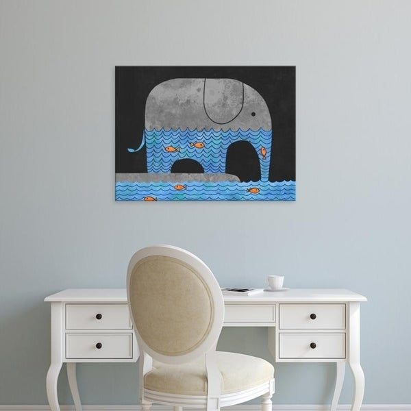 Easy Art Prints Terry Fan's 'Thirsty Elephant' Premium Canvas Art