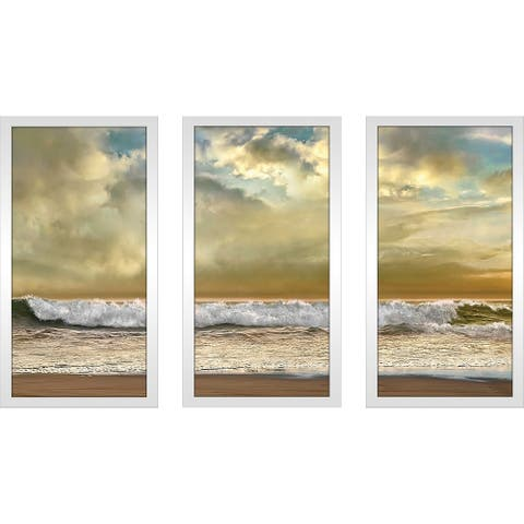 """""""Evening Wave"""" by Mike Calascibetta Print on Acrylic Set of 3 - Yellow"""