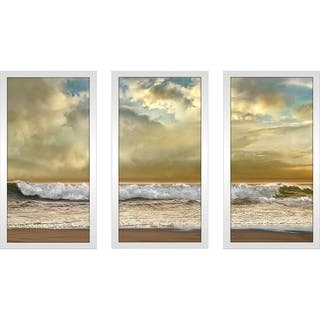 """Evening Wave"" by Mike Calascibetta Print on Acrylic Set of 3 - Yellow"