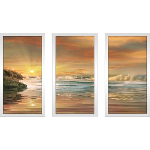 """Sundown"" by Mike Calascibetta Print on Acrylic Set of 3 - Orange"