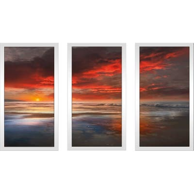 """""""Before The Moon"""" by Mike Calascibetta Print on Acrylic Set of 3 - Red"""
