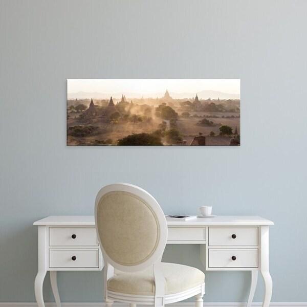 Easy Art Prints Panoramic Images's 'Ancient temples at sunset, Bagan, Mandalay Region, Myanmar' Premium Canvas Art