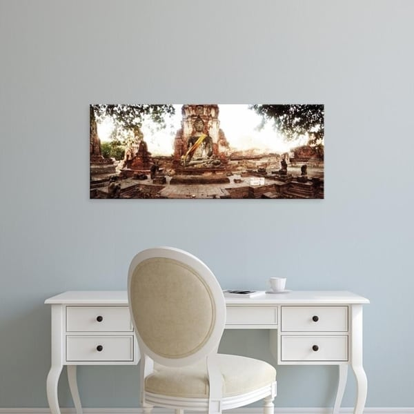 Easy Art Prints Panoramic Images's 'Buddha statue, Ancient ruins of Ayutthaya historical park, Thailand' Canvas Art